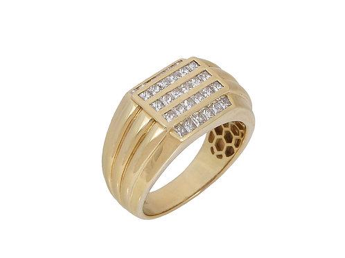 18ct Gold Mens Diamond Ring 1.2ct