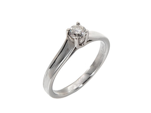 18ct White Gold Diamond Solitaire Ring 0.20ct