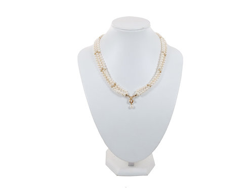 9ct Yellow Gold Diamond & Pearl Choker  Necklace