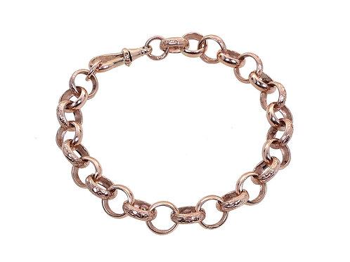 9ct Rose Gold Patterned Belcher Bracelet 27g