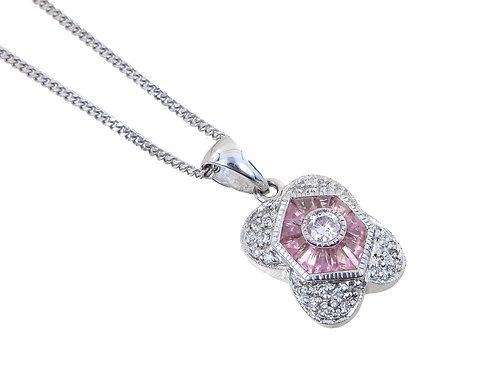 18ct White Gold Pink Sapphire & Diamond Pendant & Chain