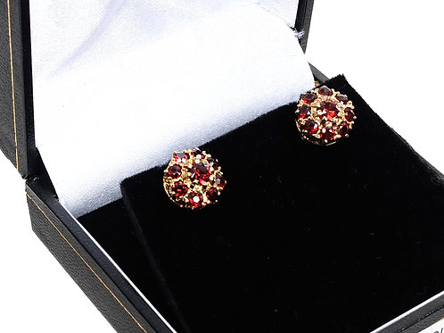 9ct Yellow Gold Garnet Earrings