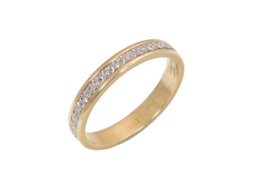 18ct White & Yellow Gold Wedding Ring Uk Size L 3mm Wide