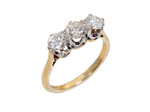 18ct Yellow Gold Diamond Trilogy Ring 1.20ct