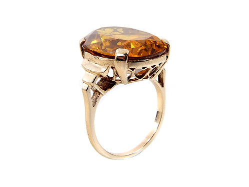 9ct Yellow Gold Vintage Large Citrine Dress Ring