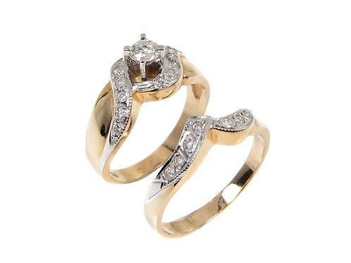 14ct Yellow Gold Diamond Wedding & engagement Ring set