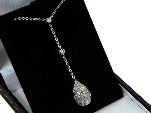 18ct White Gold Diamond Dropper Necklace 0.60ct