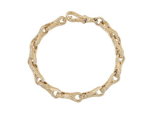 9ct Gold Patterned Wishbone Bracelet 23.3g