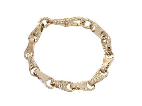 9ctGold Childrens Plain & Patterned Wishbone Bracelet 18.2g