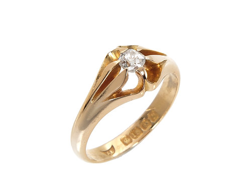 Antique 18ct Yellow Gold Gents Diamond Solitaire Ring 0.25ct