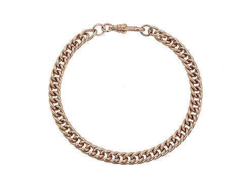 9ct Rose Gold Rounded Curb Bracelet 14.4g