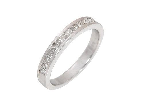 18ct White Gold Princess Cut Diamond Half Eternity Ring 0.50ct