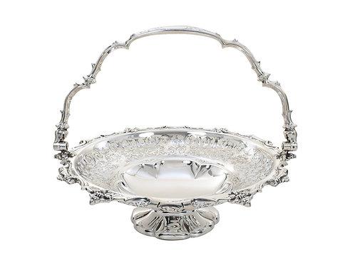 Victorian Silver Pierced Basket Ornate Sheffield 1855c