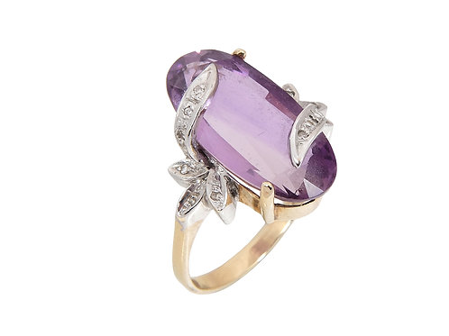 Vintage 9ct Yellow Amethyst & Diamond Statement Ring