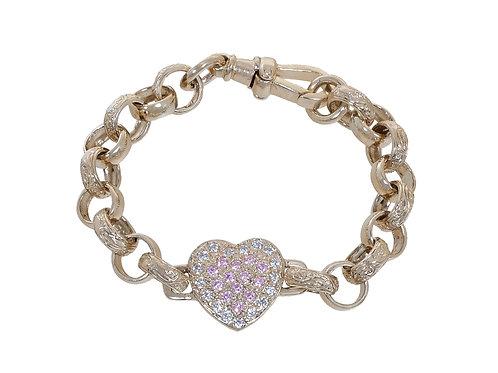 9ct Childrens CZ Heart Plain & Patterned Belcher Bracelet 15.8g