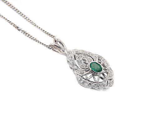 18ct White Gold Diamond, Emerald Pendant & Chain