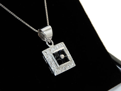 18ct White Gold Sapphire & Diamond Pendant & Chain