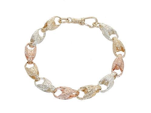 9ct Tri-Gold Patterned Tulip Bracelet 28.2g