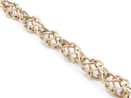 Ladies 9ct Yellow Gold Fancy Link Chain 26.1gms
