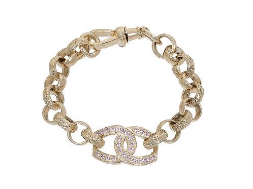 9ct Gold Childrens Plain & Patterned Horseshoes Belcher Bracelet 14.8g