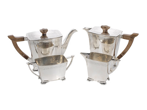 Art Deco Silver 4 Piece Tea Set Sheffield 1938c