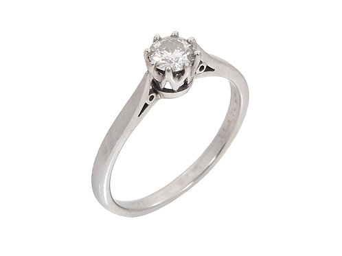 18ct White Gold Diamond Solitaire Ring 0.33ct