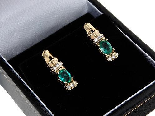 14ct Yellow Gold Emerald & Diamond Earrings