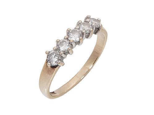9ct Yellow Gold 5 Stone Diamond Ring 0.50ct