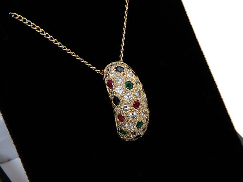18ct Yellow Gold Diamond, Sapphire, Ruby & Emerald Pendant & Chain