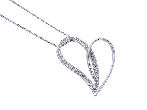 9ct White Gold Large Diamond Heart Pendant & Chain
