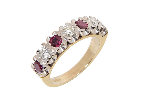 Vintage 18ct Yellow Gold Diamond & Ruby Eternity Ring