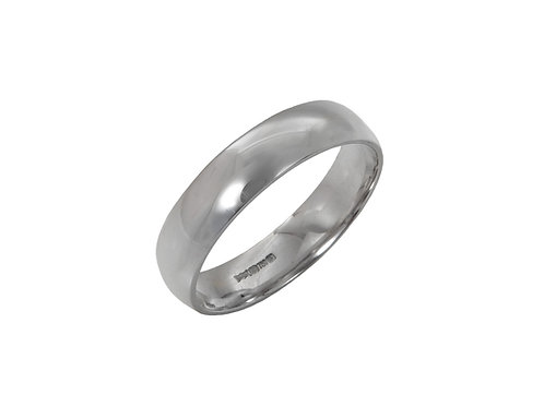 18ct White Gold Gents Wedding Ring Uk U1/2. Width 5mm