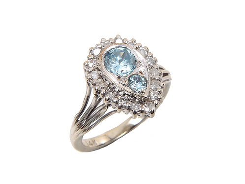 14ct White Gold Topaz & Diamond Ring