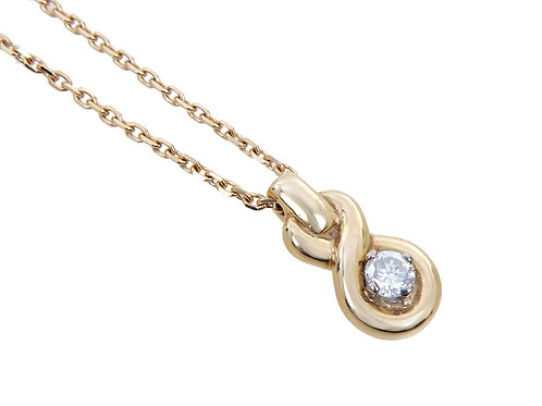 18ct Yellow Gold Diamond Solitaire  pendant & Chain