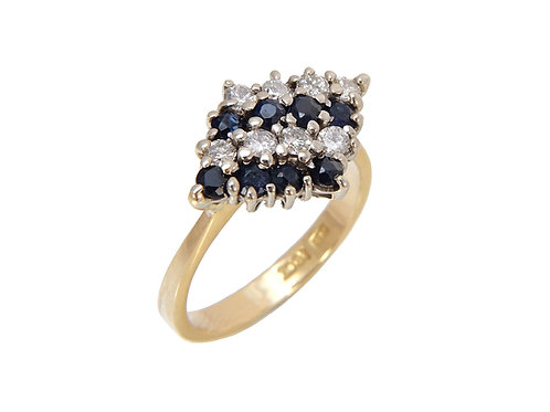 18ct Yellow Gold Sapphire & Diamond Ring