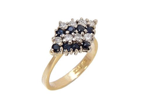 18ct Yellow Gold Sapphire & Diamond Ring