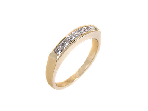 18ct Yellow Gold Princess cut Diamond Eternity Ring 0.60ct