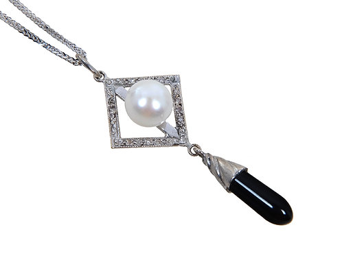 18ct White Gold Diamond Onyx & Pearl Art Deco Style Dropper Necklace