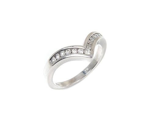 18ct White Gold Wish Bone Diamond Ring 0.39ct