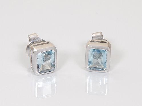 18ct White Gold Aqua Marine Earrings 2ct Emerald Cut