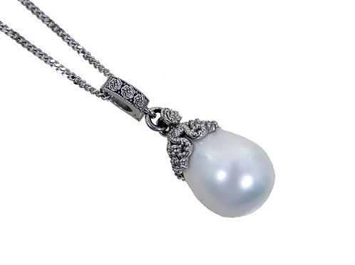 9ct White Gold Diamond Large Pearl Pendant & Chain