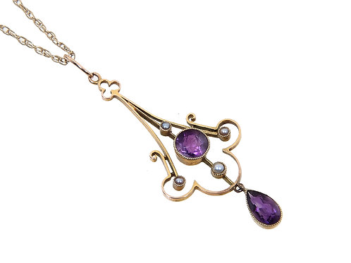 Antique 9ct Yellow Gold Seed Pearl & Amethyst Dropper Necklace