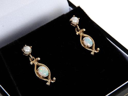 Vintage 9ct Yellow Gold Opal & Pearl Drop Earrings