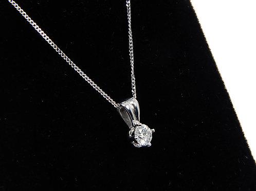 18ct White Gold Diamond Solitaire pendant necklace 0.16ct