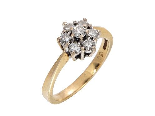 Vintage 18ct Yellow Gold Diamond Daisy Ring 0.50ct