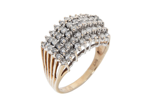 9ct Yellow Gold Diamond Large  Cluster Ring 1.50ct
