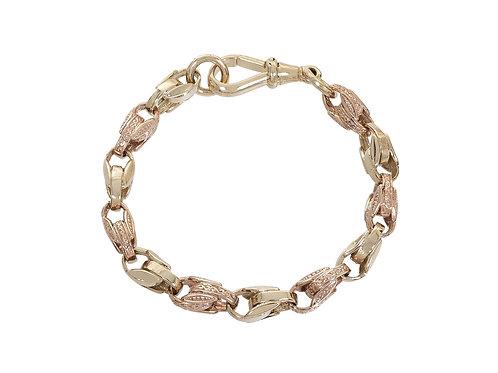 9ct Bi-Gold Childrens Plain and Patterned Tulip Bracelet 15.3g
