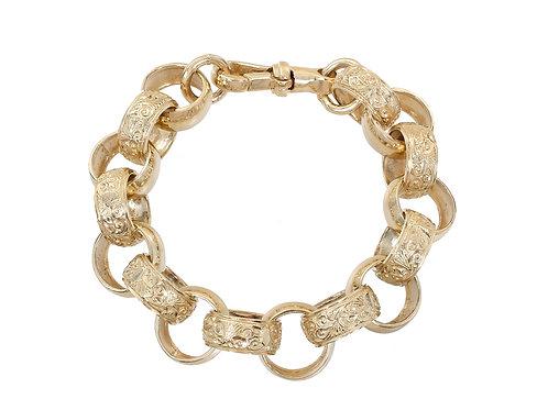 9ct Gold Plain and Patterned Belcher Bracelet 82.6g