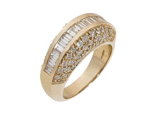 14ct Yellow Gold Large Diamond Ring 1.10ct