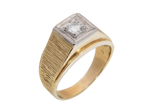 Gents 18ct yellow Gold  Diamond Solitaire Ring 0.25ct